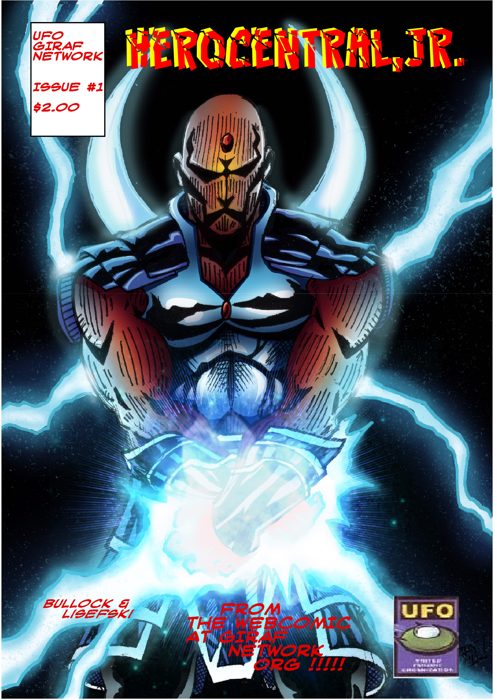 Hero Central warrior Raiden has chosen several proteges to carry on the fight against the evil of Kraken. They nicknamed themselves Hero Central, Jr. Mini-series, Issue 1 of 4. Available at $2.00 for hard copy, $1.49 for digital copy. Co-published by UFO.