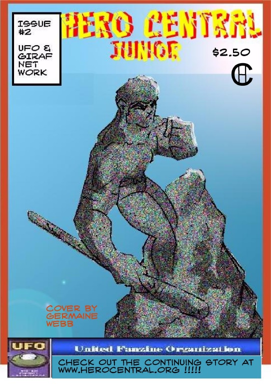 Hero Central, Jr teammates Seneca, Kineto, and Kidd Achilles plan to rescue an emerging quanta-sapien from the Japanese Consulate. Mini-series, Issue 2 of 4. Available at $2.00 for hard copy, $1.49 for digital copy. Co-published by UFO.
