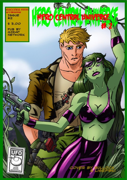 Strange energies loosed from a sister dimension leave new heroes trapped on our own world while a galactic enemy rains down on Earth. Available at $3.00 for hard copy, $0.99 for digital copy. Co-published by UFO.