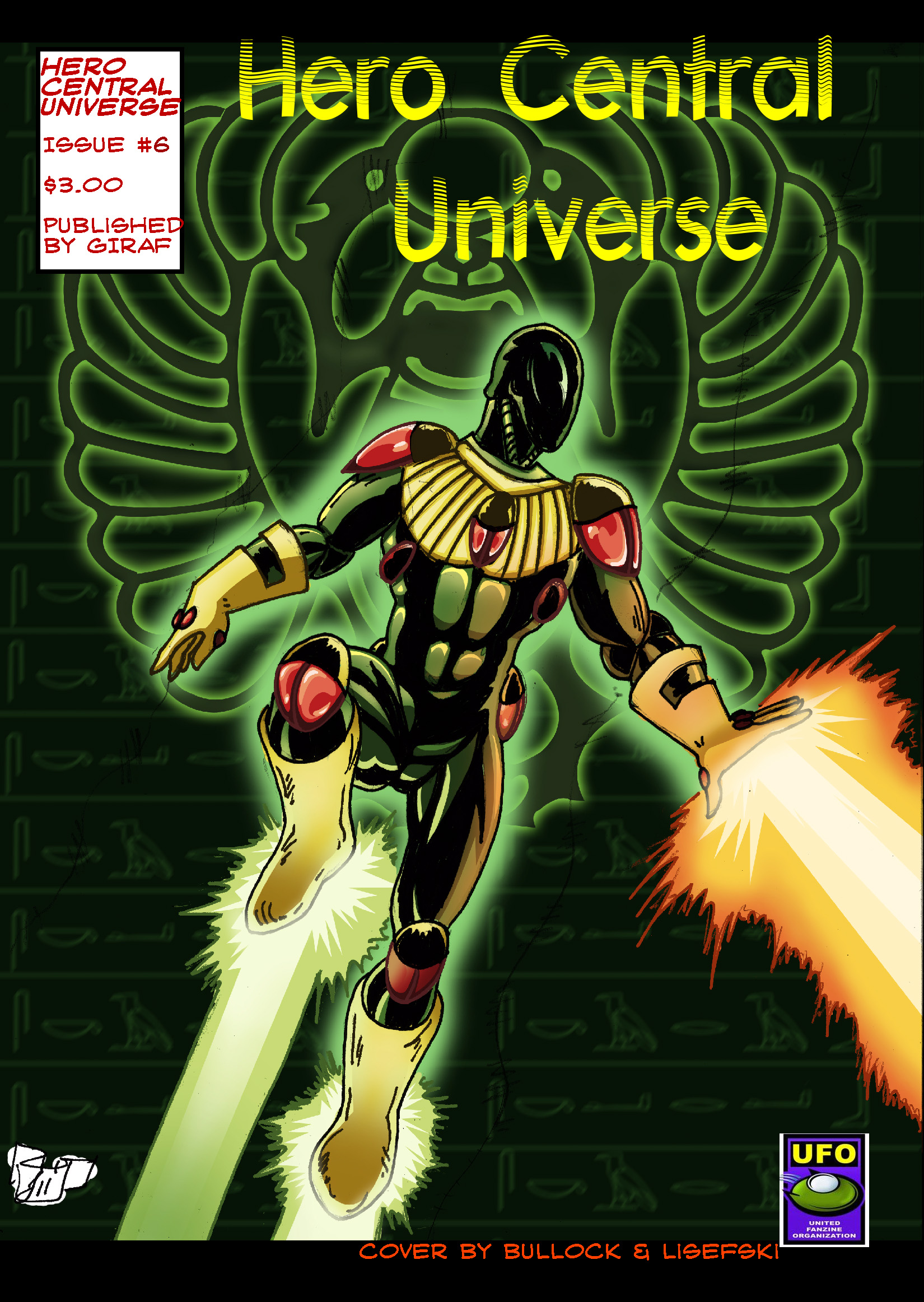 Introduction of the Egyptian hero Jade Scarab as he rescues his fellow academics from a former student gone rogue who has become an ally with the alien Orbitals. Flora Ironwood's dreams of an evil taking over this world grows stronger. Special cover designed and colored by Steve Lisefski. Available at $3.00 for hard copy, $0.99 for digital copy. Co-published by UFO.